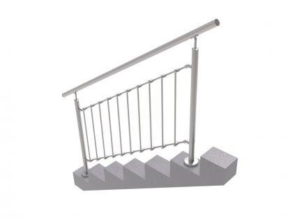 Nerezové zábradlí na schody - set (délka:2000 x výška:1000mm)