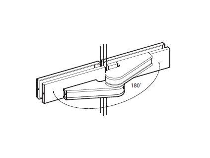 Pant (sklo/sklo) s odsazenou osou otáčení pro skleněné dveře typ 49041