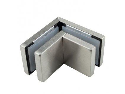 Rohový držák dvou skel pro skleněné dveře typ 56300