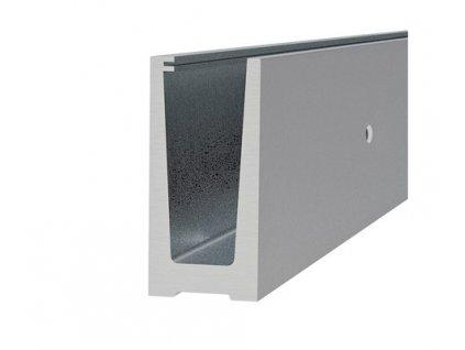 Podlahový držák skleněného zábralí sklo od 21,52 do 25,52 mm, materiál: hliník, 2,5 m, 3kN (boční kotvení)