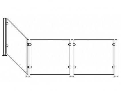 Set zábrany III. do 80 do 150cm, sloupky Ø 42,4mm, výška sloupku: 66,5cm