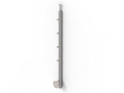 Sloupek O42,4 mm pro trubku 4x O12,0 mm s bočním připevněním - lesk