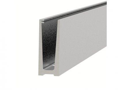 Montážní profil Hahn 121/45 mm pro sklo od 12 do 21,52 mm, vrchní kotvení, povrch. úprava INOX Satin