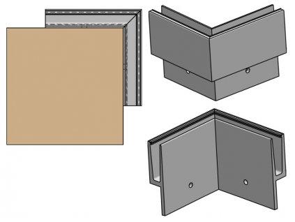 Kotvení boční rohové - sklo hliník AL/ELOX/Satin, OUT (tvar Y)