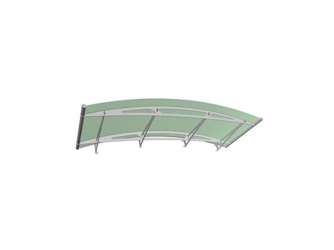 Stříška z matného zeleného akrylového skla 2480 x 910, AISI 304
