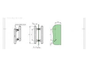 Madlo - broušený nerez AISI304, K320, H300/D25mm