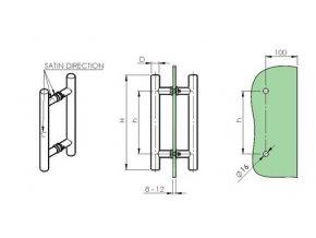 Madlo - broušený nerez AISI304, K320, H500/D25mm