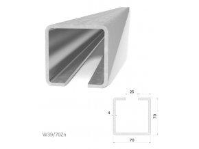 Profily Combi Arialdo W39/70Zn profil 70x70x4 mm, pozinkovaný, cena za m  10% sleva pro registrované zákazníky