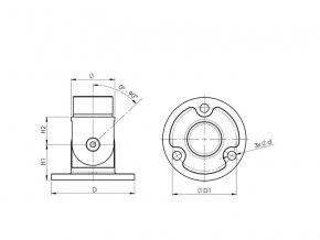 Nastavitelná nástěnná příruba pro zábradlí Ø42,4 mm