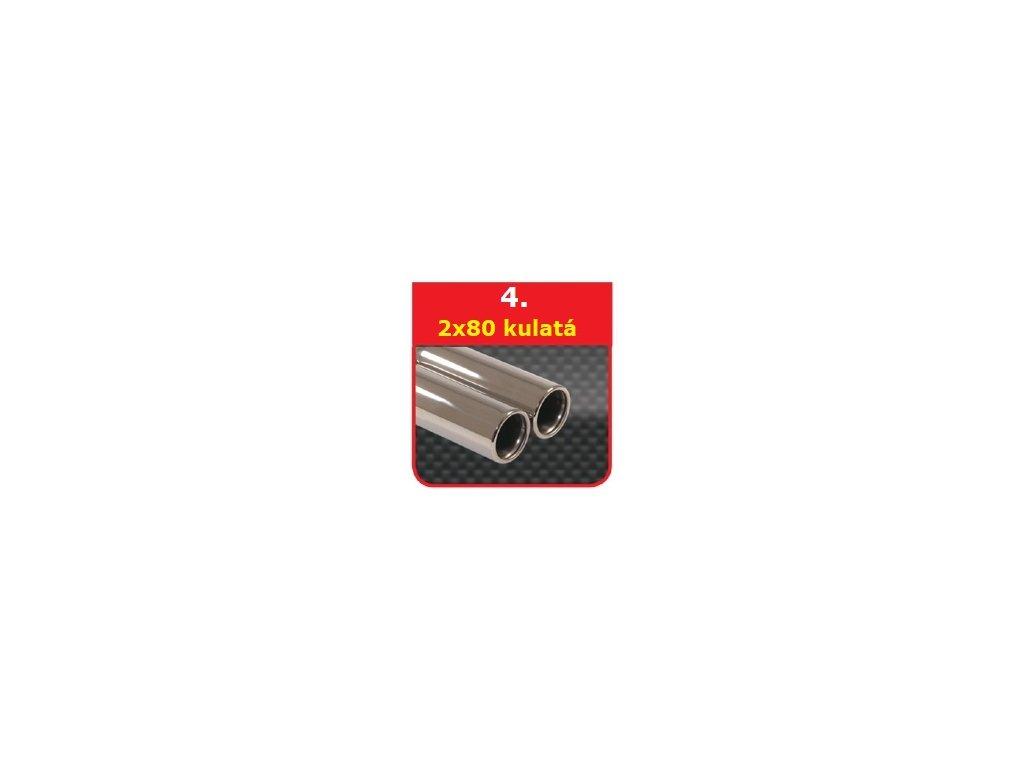 4 - Nerezová koncovka výfuku - 2×80 kulatá