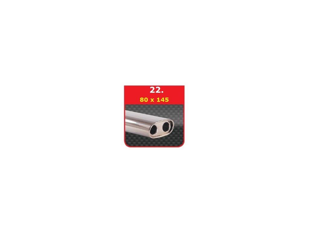 22 - Nerezová koncovka výfuku - 75×135 dvojitý absorbér