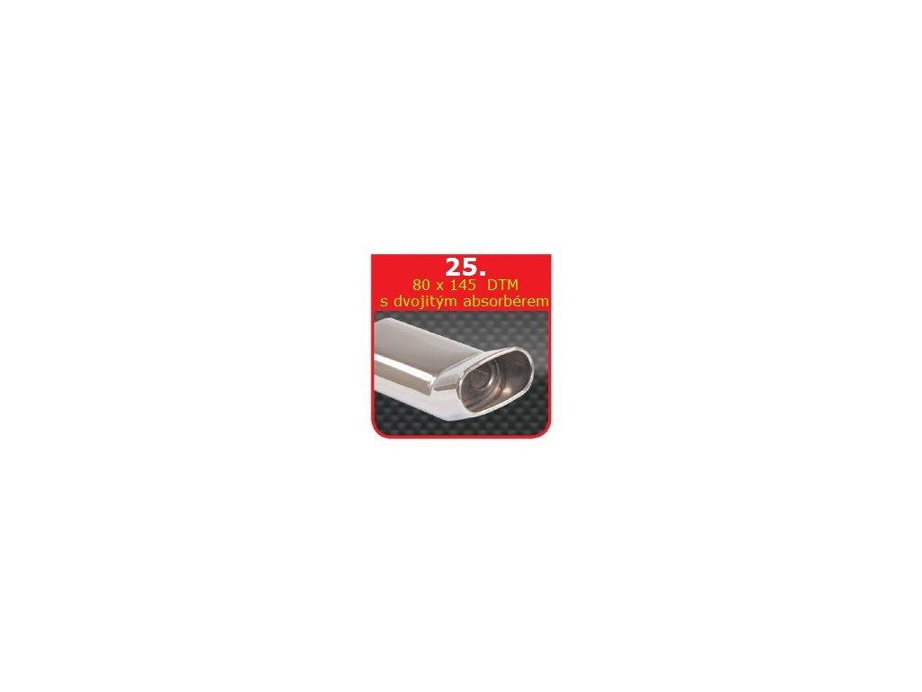 25 - Nerezová koncovka výfuku - 75×135 DTM dvojitý absorbér