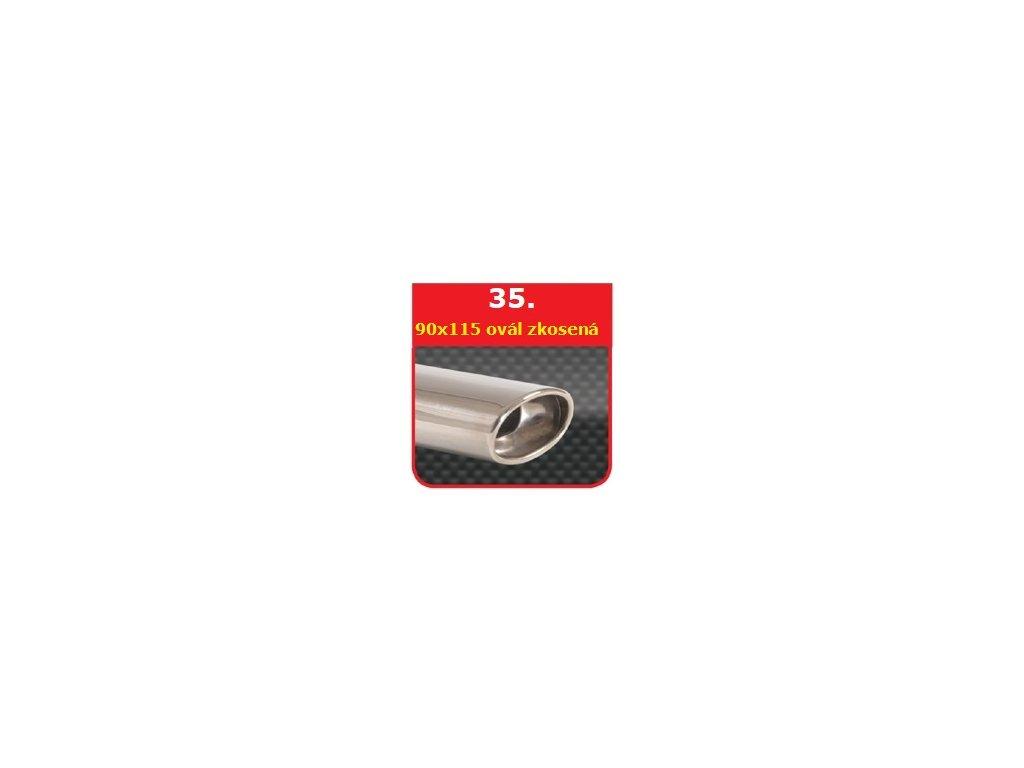 35 - Nerezová koncovka výfuku - 90×120 kulatá, zkosená