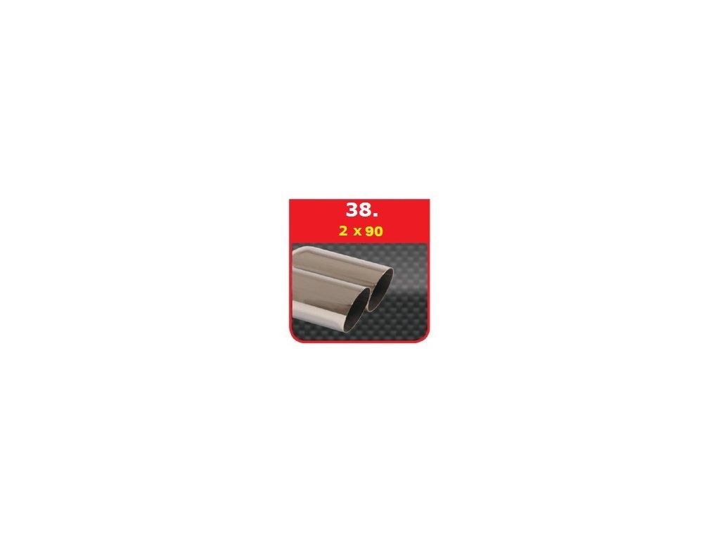 38 - Nerezová koncovka výfuku - 2×90 stranově zkosená