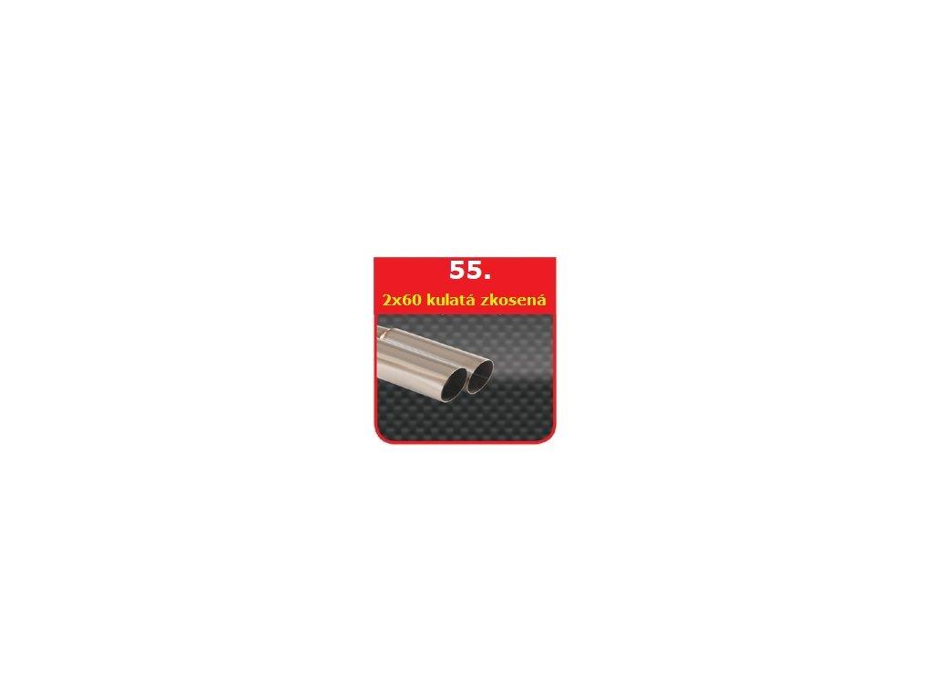 55 - Nerezová koncovka výfuku - 2×60  zkosená