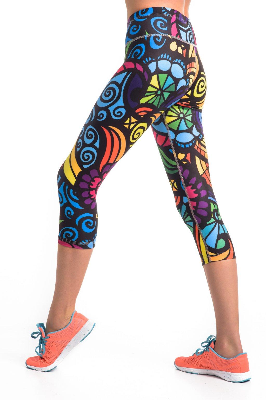 Krátké Běžecké Fitness Legíny OSTK04L - Mosaic II - Nessi Sportswear cad9fbddc6