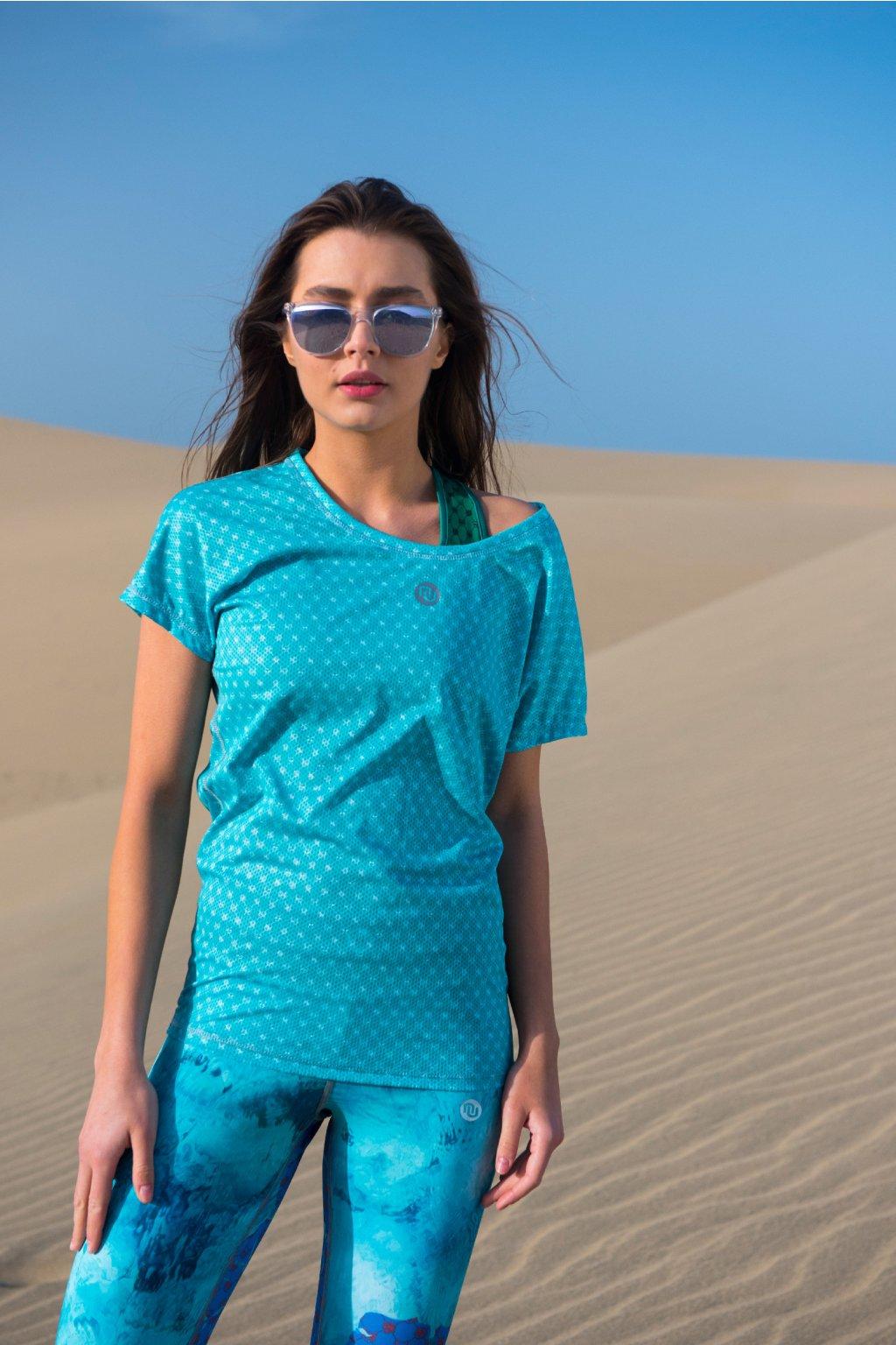 Dámské Tričko s netopýřími rukávy OTD-9G6 - Galaxy Turquoise