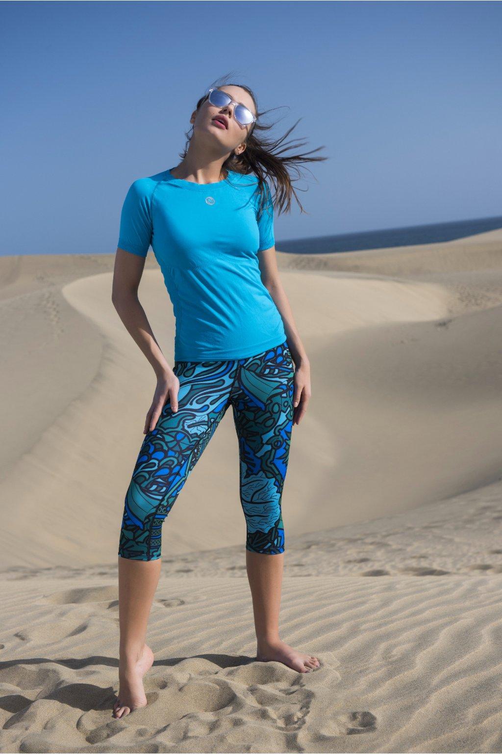 Krátké Běžecké/Fitness Legíny OSTK-9M2 - Mosaic turquoise