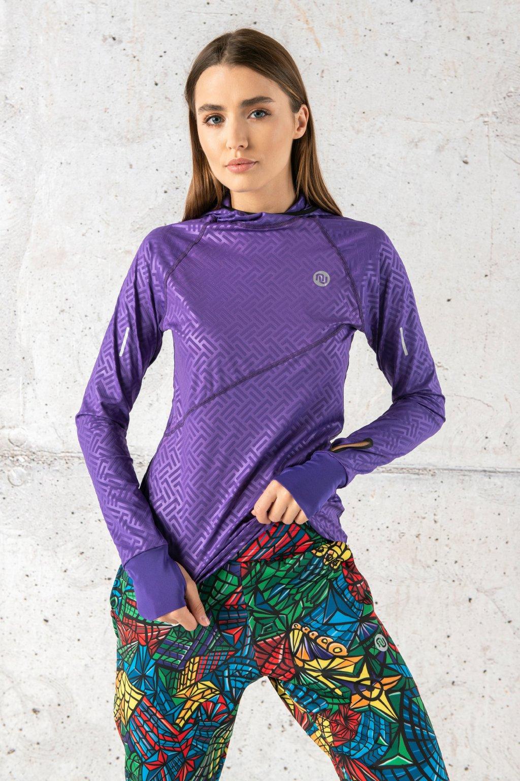 Mikina s kapucí a průstřihem na sporttester shiny 2 purple lbk 1260t 1