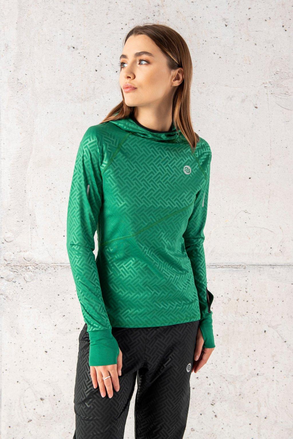 Mikina s kapucí a průstřihem na sporttester shiny 2 green lbk 1250t 1