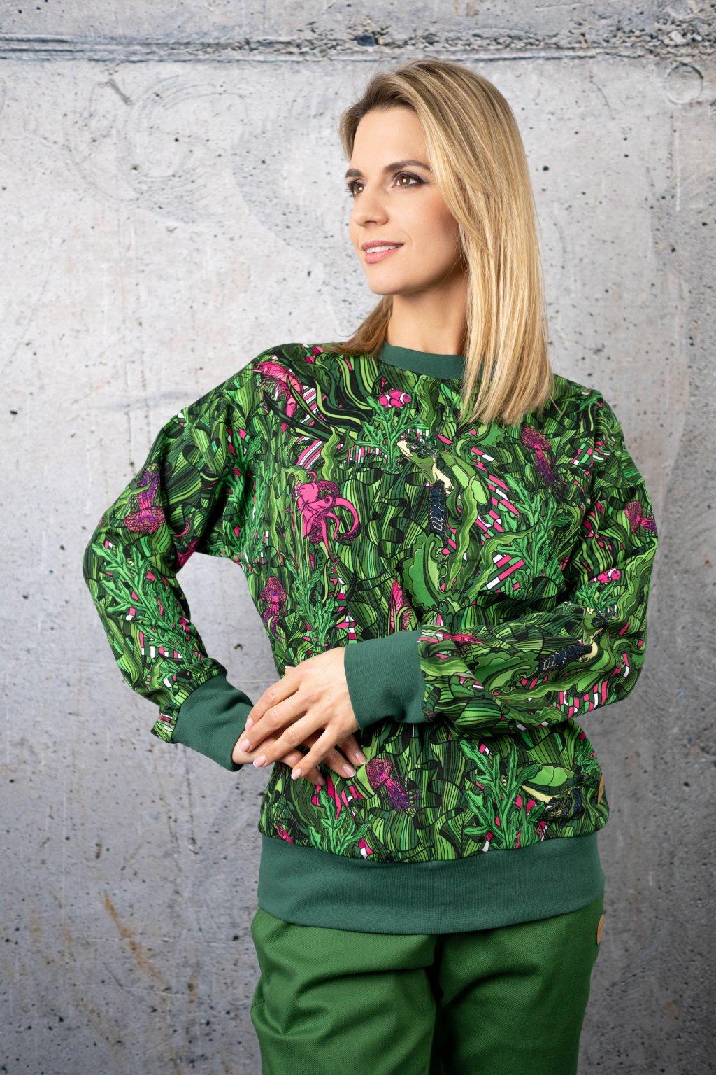 Levně Volnočasová mikina Krunek OKRN-13L1 Green Mystery Velikost: L