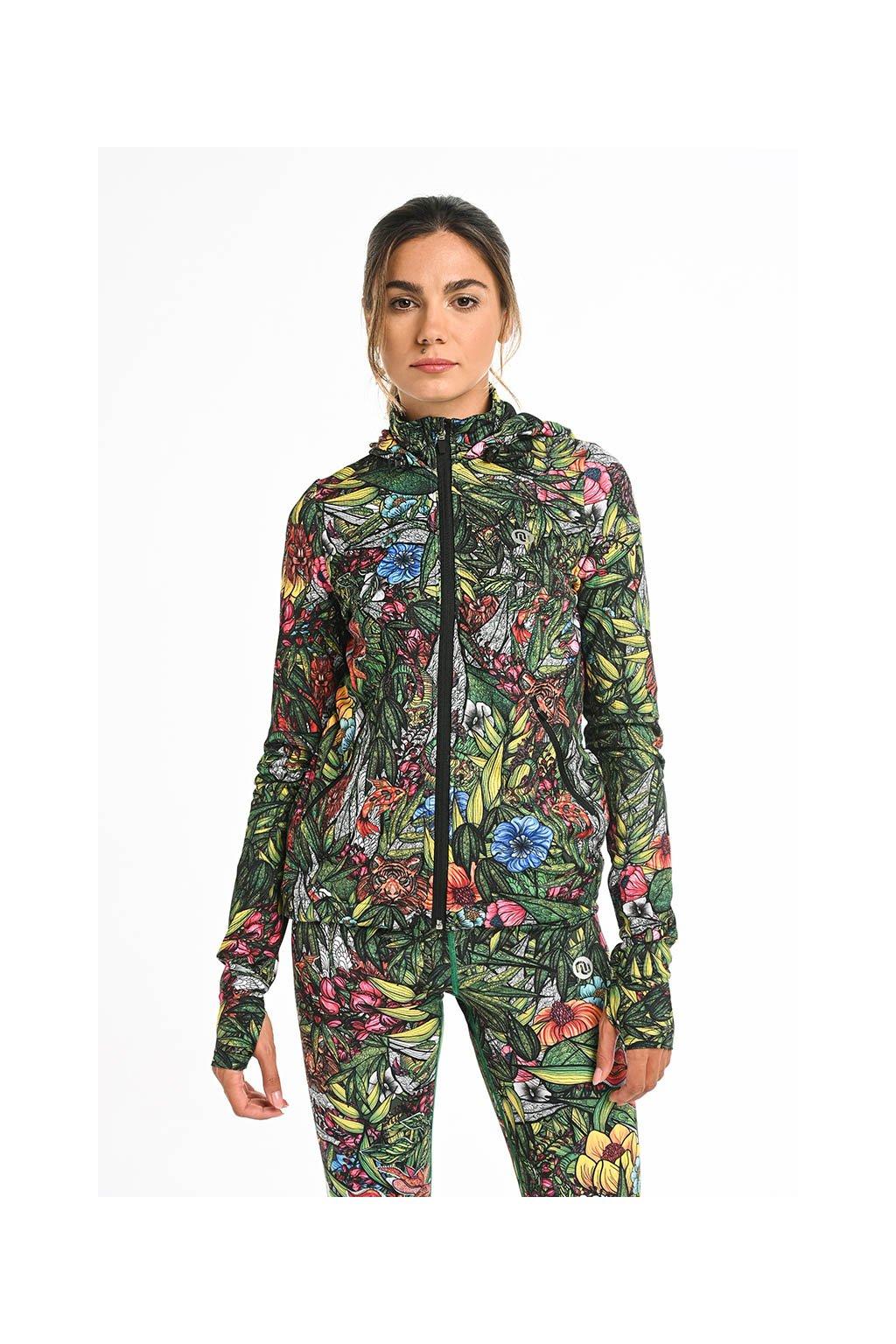 Celorozepínací dámská bunda s kapucí HRDK-14M4 Mosaic Yasei
