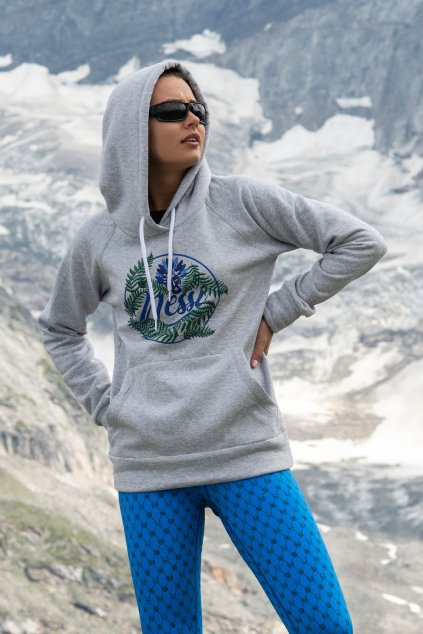 Sportovní bavlněná mikina s kapucí OKD-01 - Grey