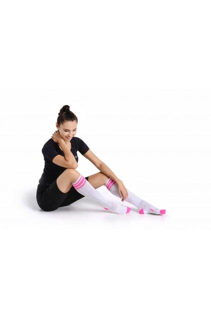 Běžecké podkolenky PR-1R - Bílá + růžová