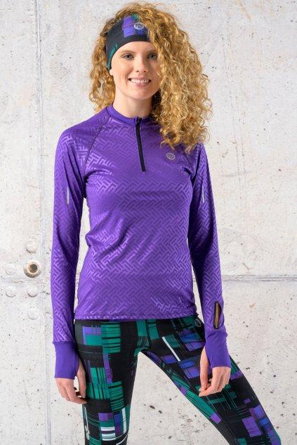 mikina s průstřihem na sporttester shiny 2 purple lbkz 1260t 1