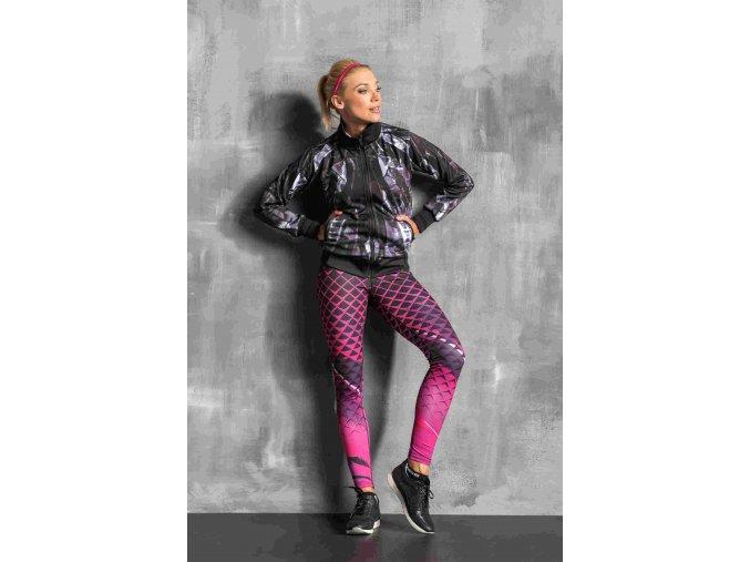 Běžecké/Fitness Legíny OSLK63 - Pink Criss-Cross