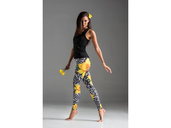 Běžecké/Fitness Legíny OSLK68 - Yellow Flowers