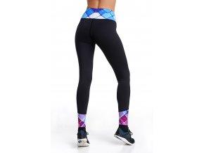 Běžecké/Fitness Legíny C03 - Black + Blue net