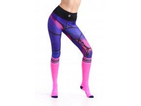 Krátké Běžecké/Fitness Legíny 46 - Violet twig