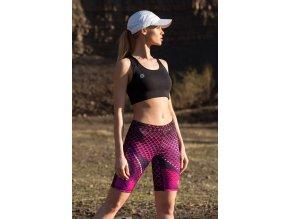 Krátké Běžecké Legíny OSKK63 - Pink Criss-Cross