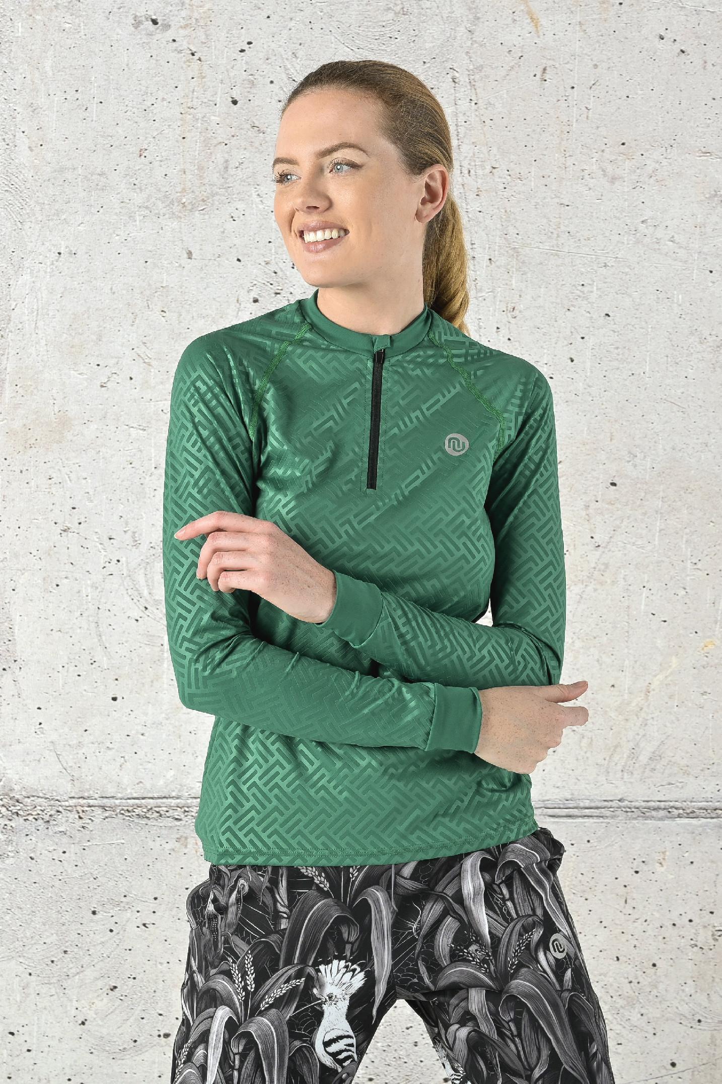 Levně Fitness tréninkové tričko s dlouhým rukávem FLBKZ-1250T Shiny 2 Green Velikost: XS