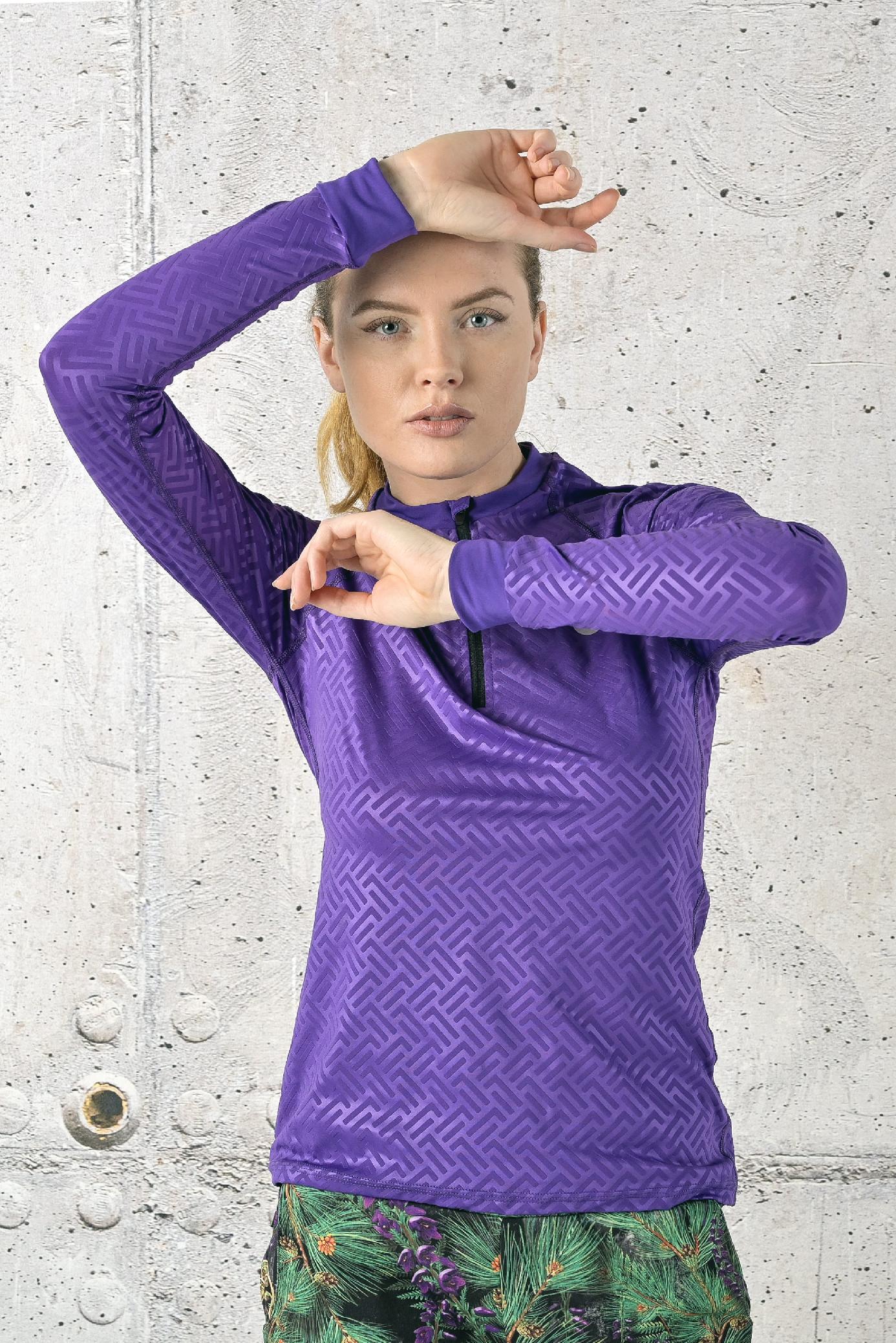 Levně Fitness tréninkové tričko s dlouhým rukávem FLBKZ-1260T Shiny 2 Purple Velikost: XS