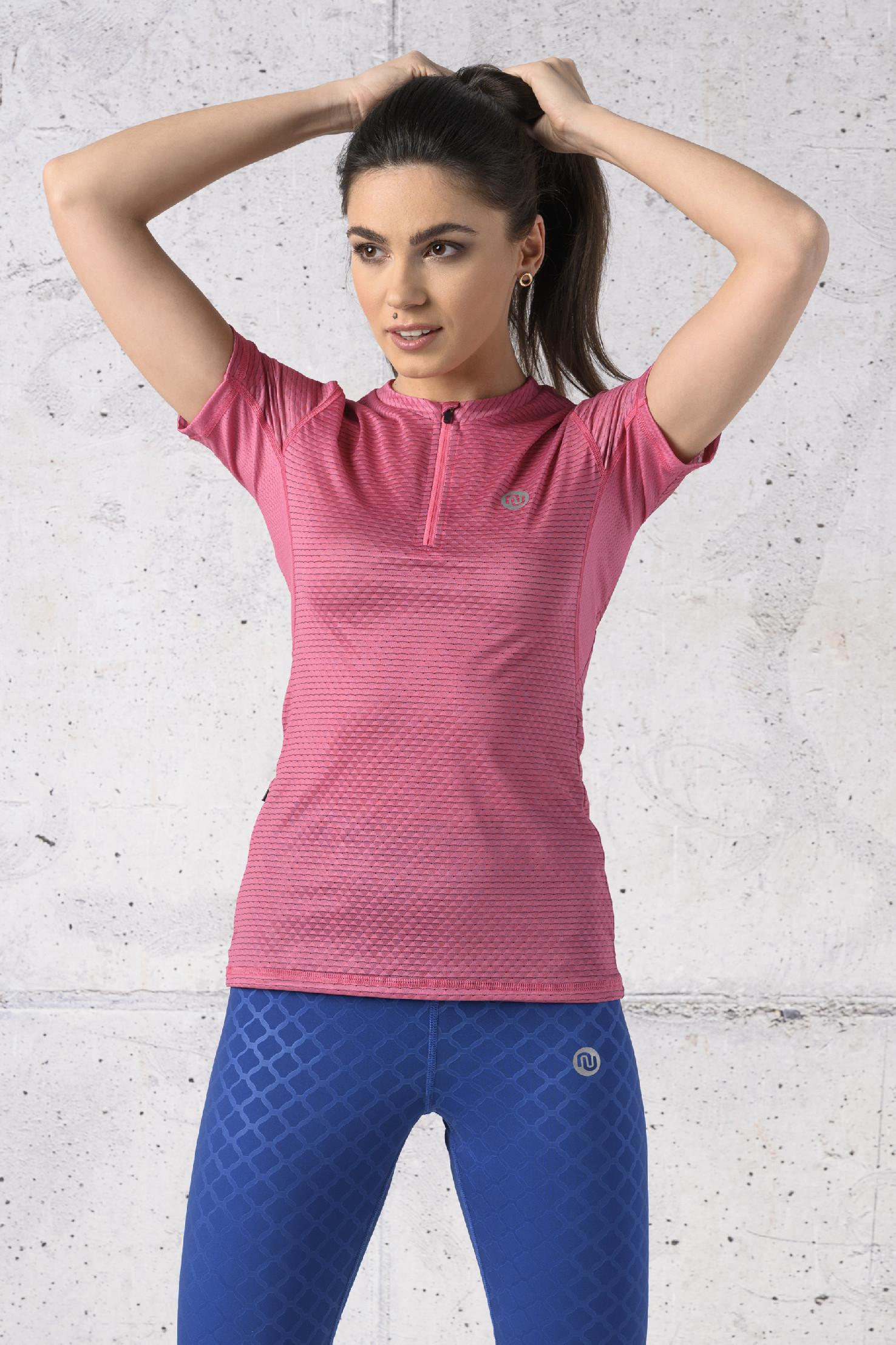 Levně Běžecké Tričko se zipem Karbon KBC-02 Pink Velikost: M