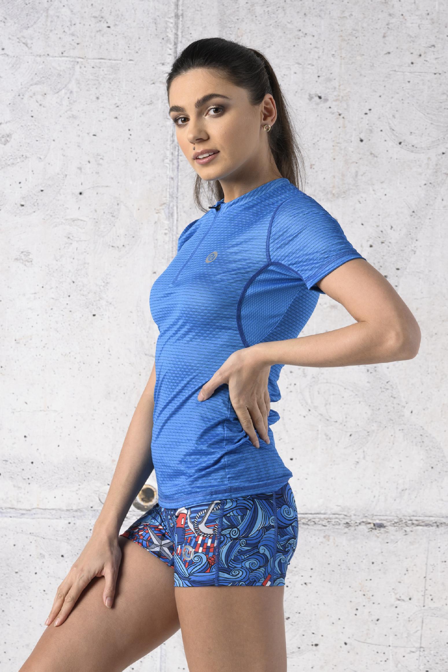 Nessi Běžecké Tričko se zipem Karbon KBC-05 Blue Velikost: XS