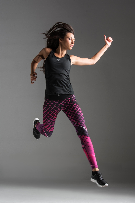 Nessi Běžecké/Fitness Legíny OSLK63 - Pink Criss-Cross Velikost: XS/S