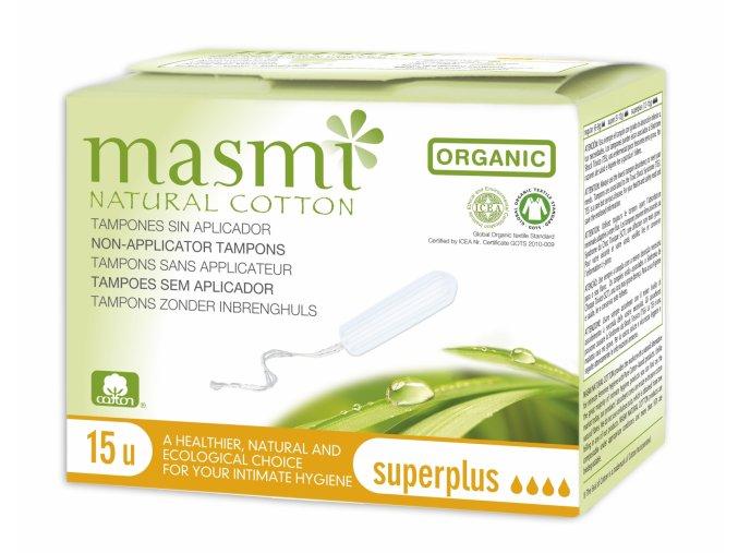 Tampony z organické bavlny Masmi, Super Plus, 15 ks