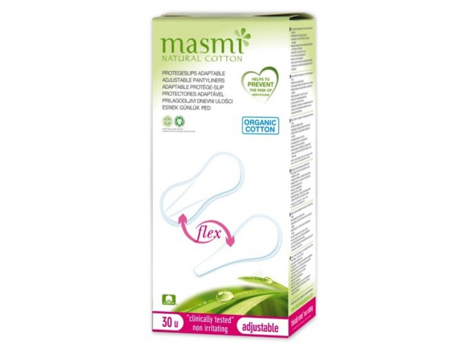 Slipové vložky Flex z organické bavlny Masmi, adaptabilní, 30 ks