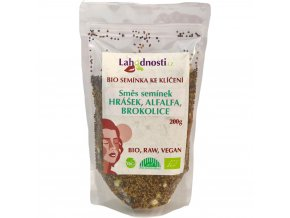 Bio směs semínek ke klíčení hrášek,alfalfa, brokolice 200g