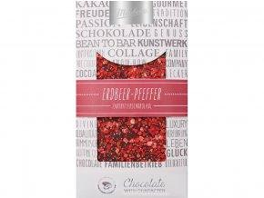 Čokoláda zdobená hořká s jahodami a kořením 100g