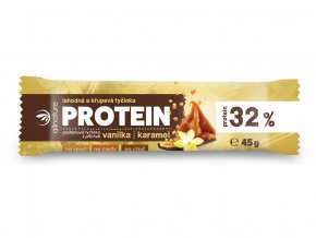 Proteinová křupavá tyčinka 32% vanilka a karamel 45g