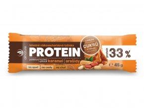 Proteinová nízkosacharidová tyčinka 33% karamel a arašídy 45 g