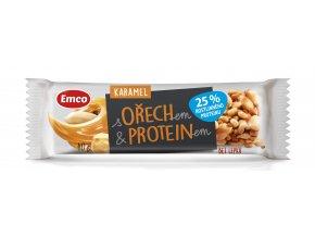 Tyčinka s ořechem a proteinem - karamel 40g