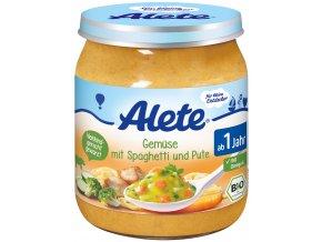 Bio příkrm -  zelenina se špagetami a krůtím masem 250g