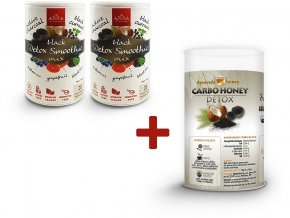 Akce 2x black detox smoothie mix 140g + 1x tubus carbo honey ZDARMA