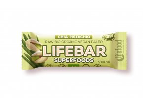 Bio tyčinka Lifebar Superfoods s chia sem. a pistáciemi 47g