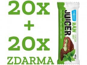 Raw juicer kakao a oříšek s mátovou náplní 45g 1 kt (20 ks) + 1 kt ZDARMA, min.trv. 26.10.2018